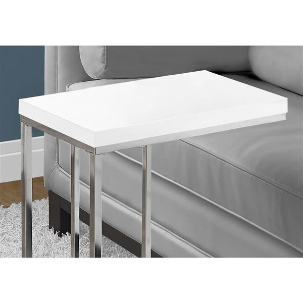"Table d'appoint, 18,25"" x 25,25"", composite, blanc"