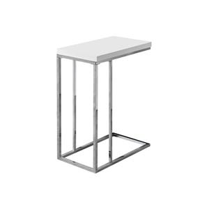 "Table d'appoint, 18,25"" x 25,25"", composite, blanc"