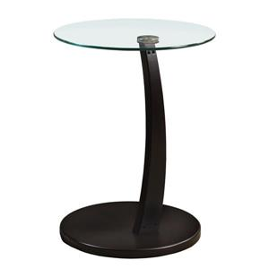 Monarch Accent Table - 17.75-in x 24-in - Glass - Cappuccino