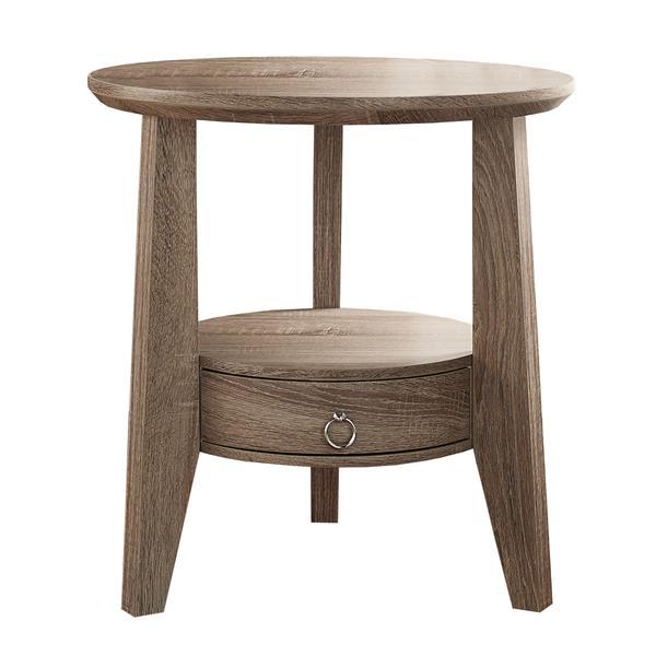 """Table d'appoint, 23,5"""" x 24,5"""", composite, taupe foncé"""