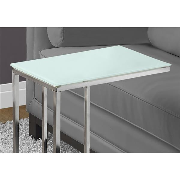 "Table d'appoint, 18,25"" x 24"", verre, chrome"