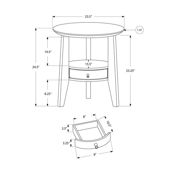 Monarch Accent Table - 23.5-in x 24.5-in - Composite - White