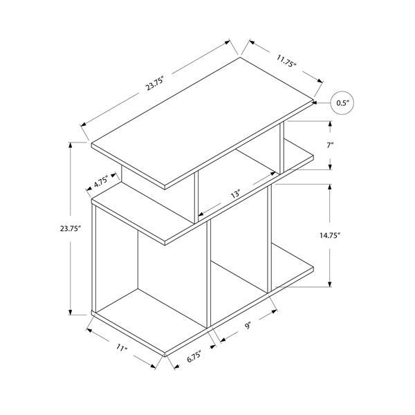 """Table d'appoint, 11,75"""" x 23,75"""", composite, taupe foncé"""