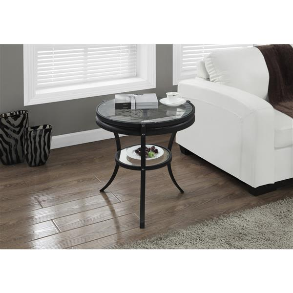 Monarch Accent Table - 22.5-in x 24-in - Glass - Black