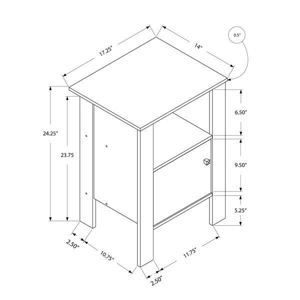 """Table d'appoint, 14"""" x 24,25"""", composite, taupe foncé"""