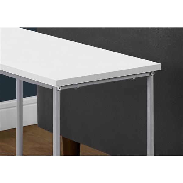 "Table d'appoint, 11,75"" x 22"", composite, blanc"
