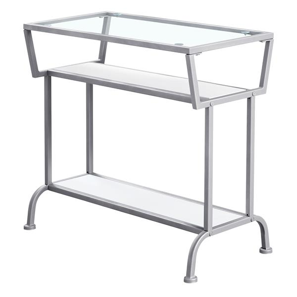 "Table d'appoint, 12"" x 22"", verre, blanc"