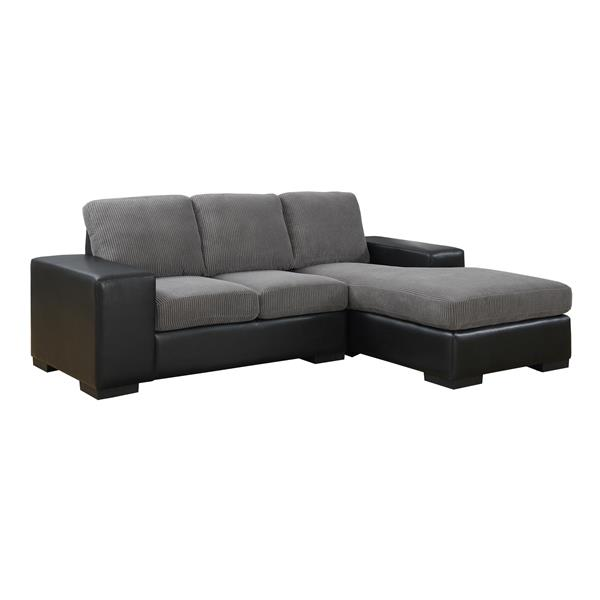 """Sofa chaise longue, 95"""" x 37"""", polyester, gris"""