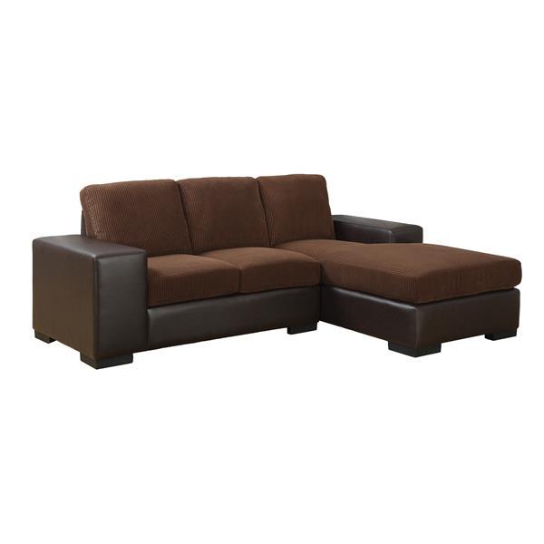 "Sofa chaise longue, 95"" x 37"", polyester, brun"