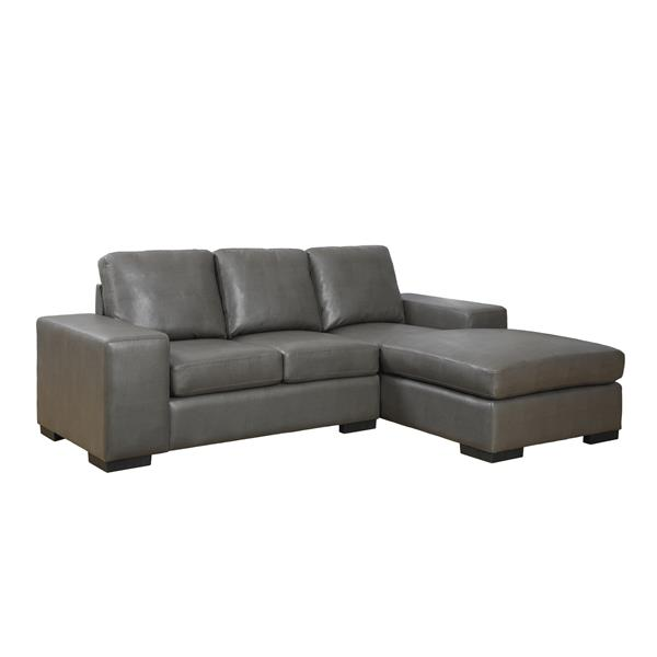 """Sofa chaise longue, 95"""" x 37"""", cuir reconstitué, gris"""