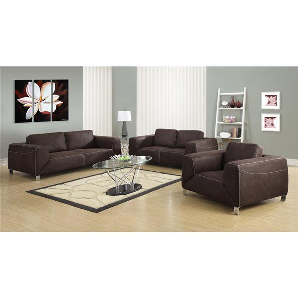 Monarch Sofa - 86-in x 32-in - Microsuede - Brown