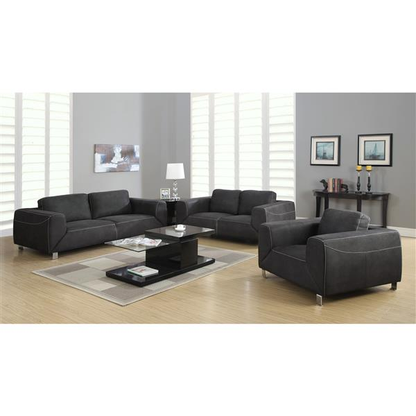 Monarch Love Seat - 71-in x 32-in - Microsuede - Gray