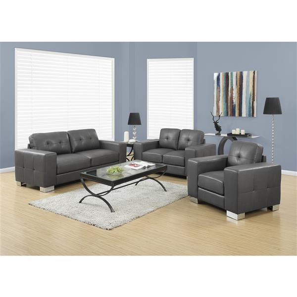 Monarch Love Seat - 61-in x 36-in - Bonded Leather - Gray