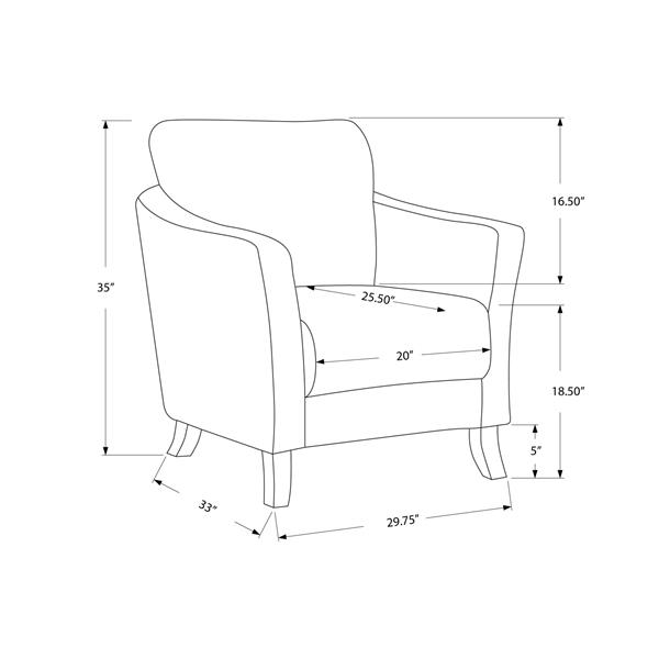 """Fauteuil d'appoint, 33"""" x 35"""", polyester, taupe"""