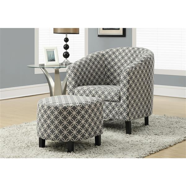 Monarch Accent Chairs - 28.5-in x 30-in - Polyester - Gray - 2 pcs