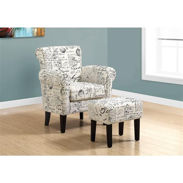 Monarch Accent Chairs - 28.5-in x 35.5-in - Polyester - Beige - 2 pcs