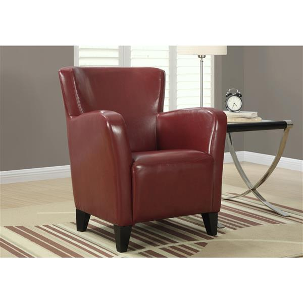 Monarch Accent Chair - 30-in x 35-in - Faux Leather - Red