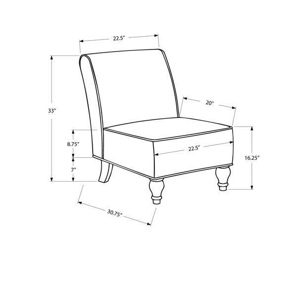 """Fauteuil d'appoint, 30,75"""" x 33"""", polyester, beige"""