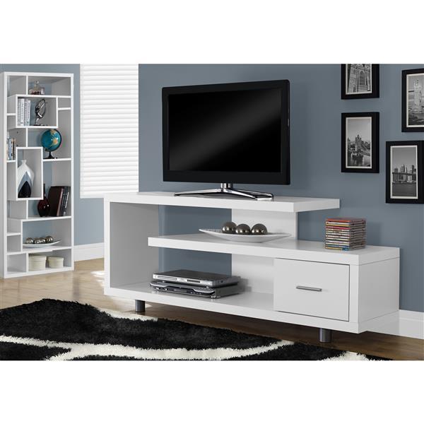 """Meuble de télévision, 60"""" x 24"""", composite, blanc"""