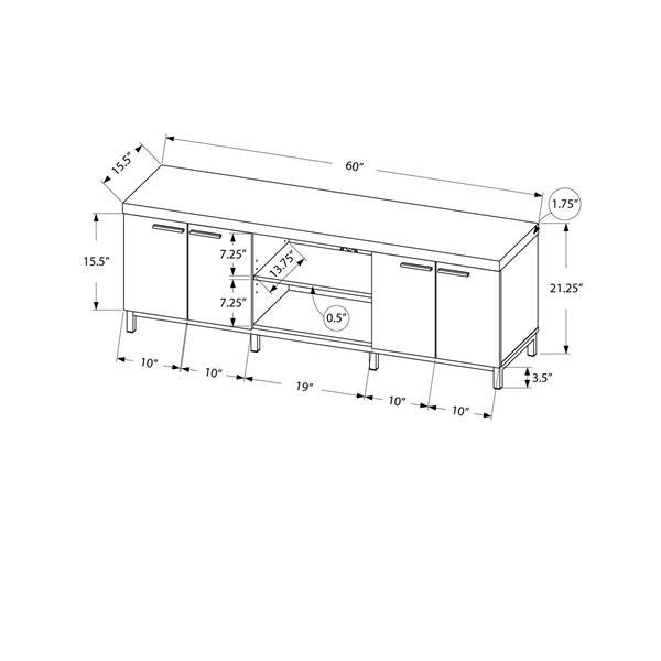 Monarch TV Stand - 60-in x 21.25-in - Composite - White