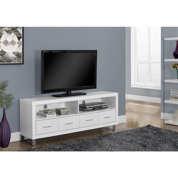 Monarch TV Stand - 60-in x 23.75-in - Composite - White