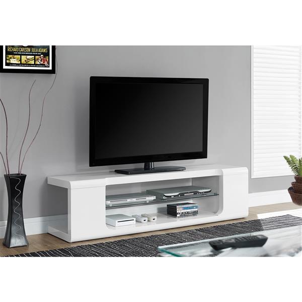 """Meuble de télévision, 59"""" x 15,75"""", composite, blanc"""