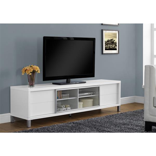 """Meuble de télévision, 71"""" x 19,75"""", composite, blanc"""