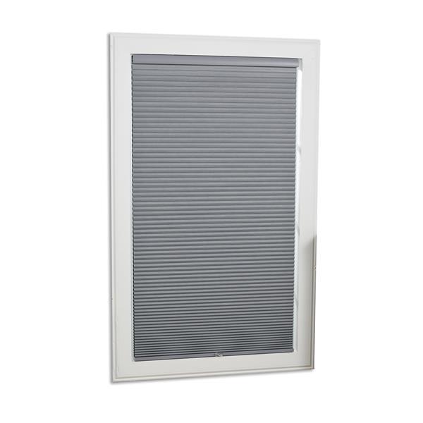 "Store coupe-lumière, 57"" x 64"", polyester, gris/blanc"