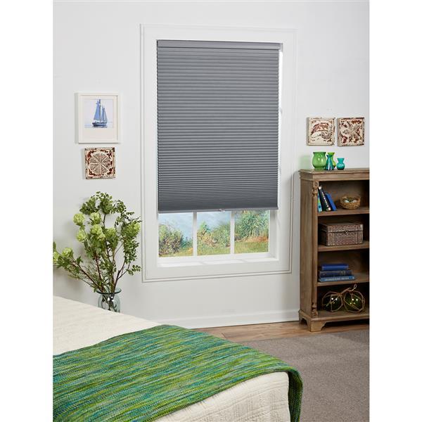 "Store coupe-lumière, 31"" x 64"", polyester, gris/blanc"