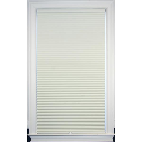 """Store coupe-lumière, 65"""" x 48"""", polyester, crème/blanc"""
