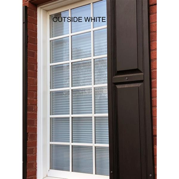 "Store coupe-lumière, 63"" x 72"", polyester, gris/blanc"