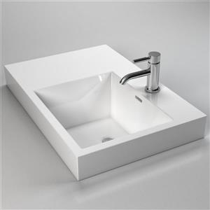 Cantrio Koncepts Rectangular Bathroom Sink with Overflow - White