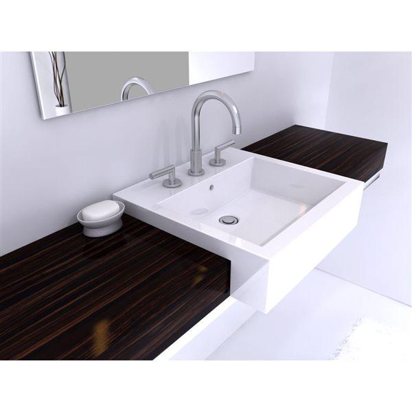 Lavabo semi-encastré avec trop-plein intégré, blanc