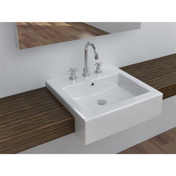 vasque avec trop plein int gr Lavabo semi-encastré avec trop-plein intégré, blanc