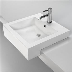 Cantrio Koncepts Semi-Recessed Bathroom Sink with Overflow - White