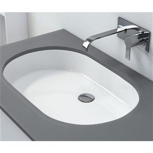 Lavabo encastré avec trop-plein intégré, blanc