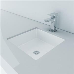 Lavabo sous-monté carré avec trop-plein intégré