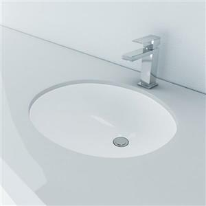 Vitreous China Oval Undermount Bathroom Sink with Overflow