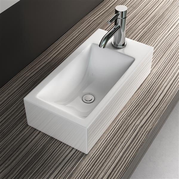 Vasque rectangulaire avec trop-plein intégré