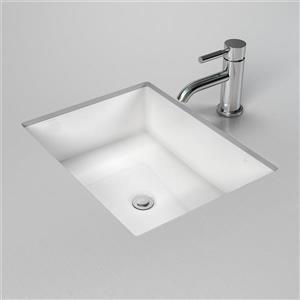Rectangular Undermount Bathroom Sink with Overflow