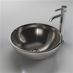 Cantrio Koncepts Circular Vessel Bathroom Sink with Overflow