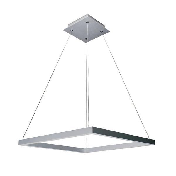 """Luminaire suspendu Atria carré à LED, argent, 20"""""""