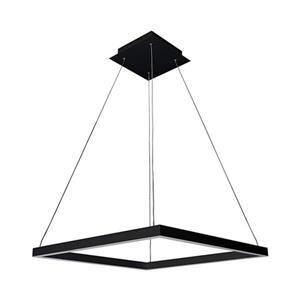 Luminaire suspendu carré à DEL Atria, 20 po, noir