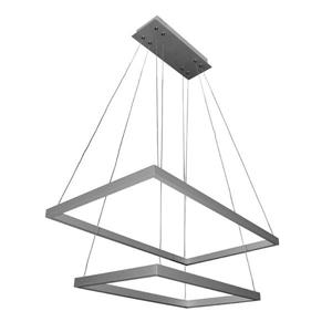 """Luminaire suspendu carré Atria, DEL, argent, 29"""""""