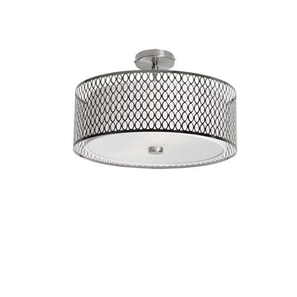 Dainolite Signature Flush Mount Light - 3-Light - 17-in - Satin Chrome