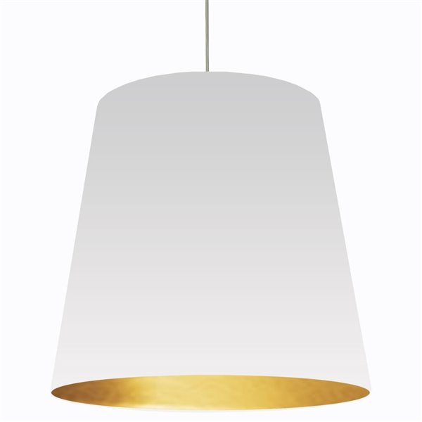 Dainolite Oversized Drum Pendant Light - 1-Light - 32-in x 32-in - White/Gold