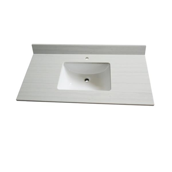 GEF Comptoir vanité de salle de bain, 43 po. surface solid