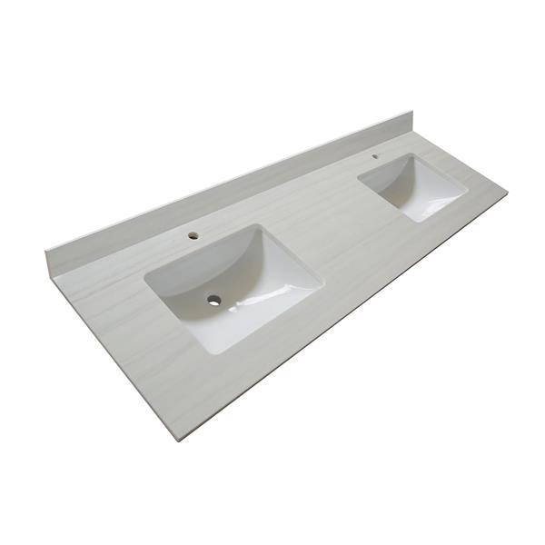 GEF Meuble-lavabo Willow avec comptoir Surface solide , 72 po. blanc