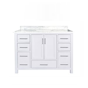 GEF Willow Vanity with Carrara Marble Top, 48-in White