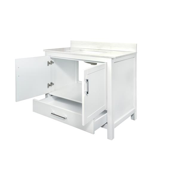 GEF Meuble-lavabo Willow avec comptoir Surface solide , 36 po. blanc